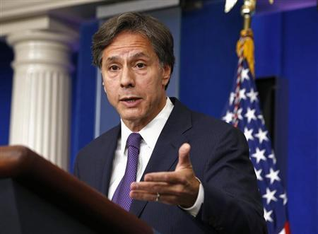 U.S. Deputy National Security Advisor Tony Blinken speaks on Syria at the White House in Washington