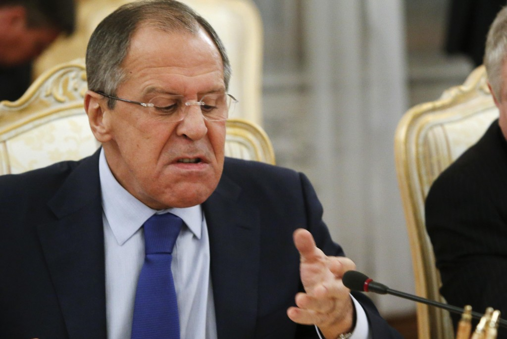 Russia's Foreign Minister Lavrov reacts during a meeting with his German counterpart Steinmeier in Moscow