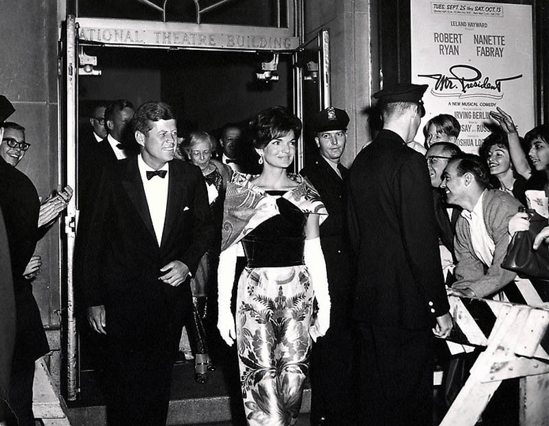 "President John F. Kennedy and Jacqueline Kennedy attend the premiere of the performance of ""Mr. President"" September 25, 1962 in Washington, DC. (Photo courtesy of Kennedy Library Archives/Newsmakers)"