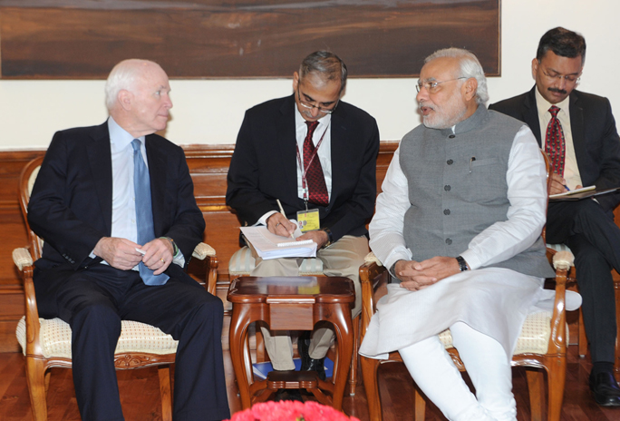 The US Senator, Mr. John McCain calls on the Prime Minister, Shri Narendra Modi, in New Delhi on July 03, 2014.